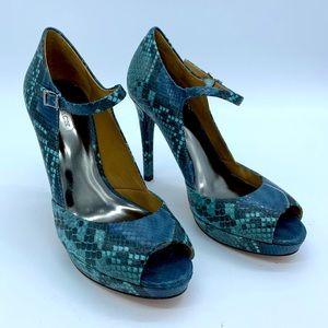 Coach size 7B teal snakeskin Mary Jane heels